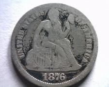 Buy 1876 SEATED LIBERTY DIME GOOD G ORIGINAL COIN FROM BOBS COINS FAST SHIPMENT