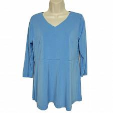 Buy Linea By Louis Dell 'Olio Crepe Top Size XS Blue Peplum Detail 3/4 Sleeve