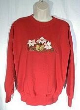 Buy Christmas Women's Sweat Shirt Large Poinsettia Bow Holiday