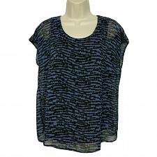 Buy Linea by Louis Dell'Olio Printed Short Sleeve Top Small Black Blue Geometric