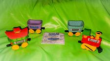 """Buy 4pc SET OF TOOTSIE ROLL EXPRESS WHITE CASTLE HAPPY MEAL PREMIUM 3""""TOY TRAINS"""
