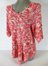 Buy FALLS CREEK womens Medium 3/4 sleeve pink CROCHET knit V NECK sweater (A5)P