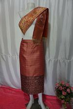 Buy Coral Pink Laos Synthetic Silk sinh Wrap Skirt Pha Bieng Waist 33""