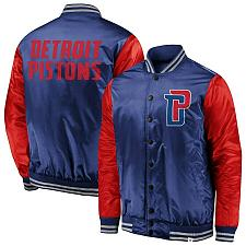 Buy New Detroit Pistons Fanatics Branded Iconic Tackle Twill Satin Jacket - Blue/Red