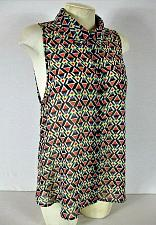 Buy MATERIAL GIRL womens XL sleeveless red blue black BUTTON DOWN sheer top (T)