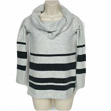 Buy LOFT Womens Petites Cowl Neck Sweater Size XSP Gray Striped Long Sleeve