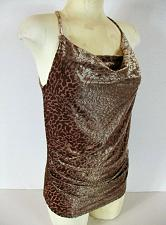 Buy NEW YORK & COMPANY womens Small sleeveless brown COWL NECK soft stretch top (R)