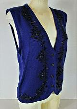 Buy KORET womens Medium sleeveless blue BEADED front WOOL BLEND sweater vest (C2)