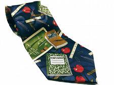 Buy Fratello Men's School Days Teacher Math Ruler Composition Necktie Novelty