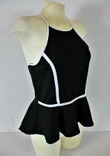 Buy LILY MORGAN womens Large sleeveless black white trim MESH BACK skater top (B6)