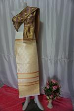 Buy Blonde Gold Thai Lanna Synthetic Silk sinh Skirt Pha Bieng Tailor to your size