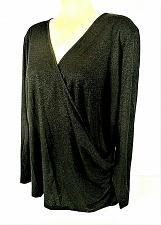 Buy Talbots womens 2X L/S black silver METALLIC faux wrap RAYON blend stretch top X)