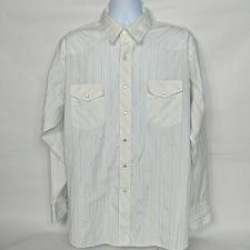 Buy Wrangler Western Pearl Snap Shirt Size XL White Gold Striped Long Sleeve