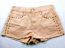 Buy Forever 21 Women's Booty Shorts Size 26 Solid Orange Studded Raw Hem