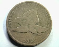 Buy 1858 SMALL LETTERS DOUBLE EYE FLYING EAGLE CENT PENNY VERY GOOD VG NICE COIN