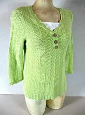 Buy CHRISTOPHER & BANKS womens Small 3/4 sleeve green KNIT PULLOVER sweater B8)