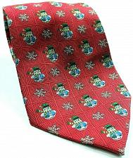 Buy Christmas Snowflake Snowman Holiday Print Red Silk Novelty Necktie