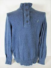Buy AMERICAN EAGLE mens Large blue 1/4 ZIP w 4 BUTTONS 100% cotton sweater (A7)