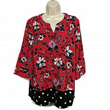 Buy Denim & Co. Womens Floral & Dot Print Stretch Crepe Blouse Size XL Red Floral