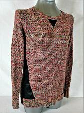 Buy XHILARATION womens Sz XS L/S multi color FAUX LEATHER TRIM sweater (B2)P