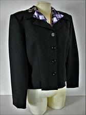 Buy DBY womens Sz 11/12 L/S black REMOVABLE PRINT collar button down jacket (B9)