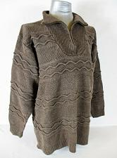 Buy ST JOHNS BAY womens Large L/S BROWN RIBBED HEAVYWEIGHT 1/2 ZIP SWEATER (A2)P