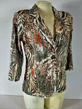 Buy ERIN LONDON womens Sz PS 3/4 sleeve black orange brown RUFFLED jacket (B9)
