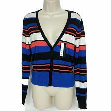 Buy NWT Worthington Cardigan Sweater Med V Neck Monaco Striped Blue White Orange