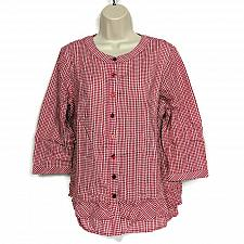 Buy Joan Rivers Womens Gingham Button Front Blouse with Ruffles Size 12 Red White