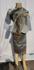 Buy Gray Lao Laos Girl Tradition Dress Clothing 3/4 Seeve Blouse Sinh Skirt Size 8