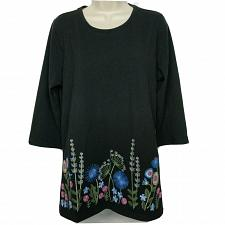 Buy Denim & Co. Perfect Jersey Round-Neck Embroidered Floral Top Medium Black