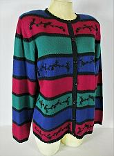 Buy ALFRED DUNNER womens Small L/S blue red green EMBROIDERED cardigan sweater (C4)