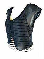 Buy LOVE CULTURE womens Medium S/S blue tan STRIPED TANK sheer shell top (P)