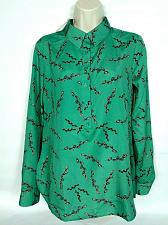 Buy NWT Ann Taylor Womens Popover Shirt Top XS Green Floral Long Sleeve