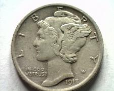 Buy 1918 MERCURY DIME EXTRA FINE+ XF+ EXTREMELY FINE+ EF+ NICE ORIGINAL COIN