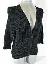 Buy TAKEOUT womens Sz XS 3/4 sleeve black METALLIC button up CARDIGAN sweater (A4)P