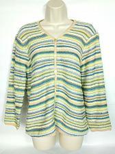 Buy Talbots Women's Cardigan Sweater Size Medium Blue Green White Yellow Striped
