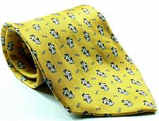 Buy Puppy Dog Dog With Bone All Over Print Men's Silk Tie Made In Italy