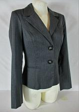 Buy BCX womens Medium L/S gray WHITE PINSTRIPE 2 button partially lined jacket (Y)