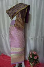 Buy Lilac Purple Thai Lanna Synthetic Silk sinh Skirt Pha Bieng Tailor to your size