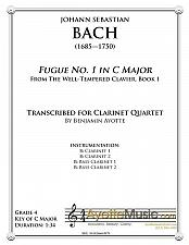 Buy Bach - Fugue No. 1 in C Major (WTC Book 1) for Clarinet Quartet