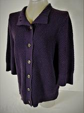 Buy CHAPS womens XL 3/4 sleeve purple CHUNKY button up HEAVY cardigan sweater (A4)P