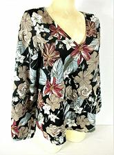 Buy Lucca womens Small L/S black red blue CROSS BACK lined floral top NWT (R)