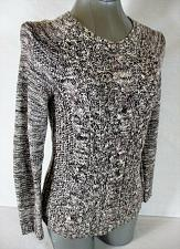 Buy SONOMA womens Sz XS L/S black white CABLE KNIT PULLOVER sweater (A3)