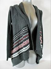 Buy BELLE DU JOUR womens Small L/S gray red black HOODED OPEN cardigan sweater (A3)P