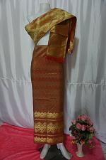 Buy Old Gold ColorThai Lanna Synthetic Silk sinh Skirt Pha Bieng Tailor to your size