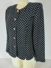Buy LESLIE FAY womens Sz 8P L/S blue WHITE POLKA DOT button down dress jacket (B3)P
