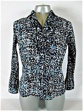 Buy EAST 5th womens Medium petite BELL L/S BLUE BLACK BUTTON UP STRETCH TOP (R)P