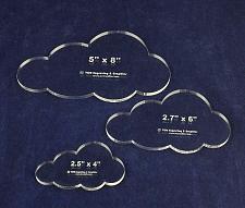"Buy Cloud Templates. 3 Piece Set -4"", 6"", 8"". - Clear Acrylic 1/4"""