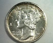 Buy 1935 MERCURY DIME CHOICE ABOUT UNCIRCULATED+ CH. AU+ NICE COLOR /TONING ORIGINAL